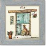 絵画 ジョー ラム「ドッグ ローズ コテージ」 アートフレーム 巣ごもり リビング 玄関 トイレ インテリア 壁掛け 額付き 額入り 額装込 プレゼント犬 ギフト 御祝 模様替え イラスト