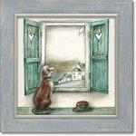 絵画 ジョー ラム「オールド ハット」 アートフレーム 巣ごもり リビング 玄関 トイレ インテリア 壁掛け 額付き 額入り 額装込 プレゼント犬 ギフト 御祝 模様替え イラスト