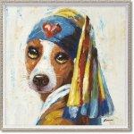 絵画 オイル ペイント アート「青いターバンの犬(Mサイズ)」 アートフレーム 巣ごもり 油絵 インテリア プレゼント 壁掛け 手描き ギフト 額入り 額装込 アート モダン リビング 玄関 おしゃれ