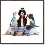 絵画 ベッキー ソーンズ「ピクニック ドッグ1」 壁掛け 額入り かわいい 犬の絵 おしゃれ アートフレーム インテリア リビング 玄関 トイレ 部屋に飾る 絵 癒し 御祝 ギフト