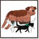絵画 ベッキー ソーンズ「プレイフル ドッグ1」 壁掛け 額入り かわいい 犬の絵 おしゃれ アートフレーム インテリア リビング 玄関 トイレ 部屋に飾る 絵 癒し 御祝 ギフト