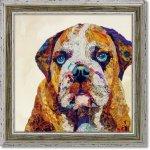 絵画 エリザベス サンティレール「グッド ドッグ」 壁掛け 額入り カラフル 犬 動物画 おしゃれ リビング 玄関 部屋に飾る絵 インテリア アートフレーム アニマル 華やか ギフト