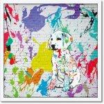 絵画 マスターファンク コレクション「イン マイ ディフェンス」 壁掛け 額入り カラフル おしゃれ 犬 動物 かわいい 落書き リビング 玄関 部屋に飾る絵 ギフト インテリア ストリートアート