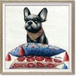 絵画 オイル ペイント アート「お気に入りの場所(Sサイズ)」 壁掛け 手描き 油絵 カラフル 犬 インテリア おしゃれ 部屋に飾る絵 かわいい ギフト プレゼント ハンドペイント アートフレーム