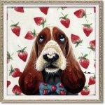 絵画 オイル ペイント アート「いちご博士(Sサイズ)」 壁掛け 手描き 油絵 カラフル 犬 インテリア おしゃれ 部屋に飾る絵 かわいい ギフト プレゼント ハンドペイント アートフレーム