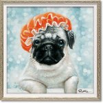 絵画 オイル ペイント アート「カラーリング中(Sサイズ)」 壁掛け 手描き 油絵 カラフル 犬 インテリア おしゃれ 部屋に飾る絵 かわいい ギフト プレゼント ハンドペイント アートフレーム