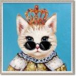 絵画 オイル ペイント アート「ブルー キング(Mサイズ)」 壁掛け 手描き 油絵 カラフル 猫 インテリア おしゃれ 部屋に飾る絵 かわいい ギフト プレゼント ハンドペイント アートフレーム