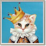 絵画 オイル ペイント アート「ブルー クイーン(Mサイズ)」 壁掛け 手描き 油絵 カラフル 猫 インテリア おしゃれ 部屋に飾る絵 かわいい ギフト プレゼント ハンドペイント アートフレーム
