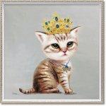 絵画 オイル ペイント アート「ベビークイーン(Mサイズ)」 壁掛け 手描き 油絵 カラフル 猫 インテリア おしゃれ 部屋に飾る絵 かわいい ギフト プレゼント ハンドペイント アートフレーム
