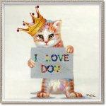 絵画 オイル ペイント アート「I LOVE DOG(Mサイズ)」 壁掛け 手描き 油絵 カラフル 猫 インテリア おしゃれ 部屋に飾る絵 かわいい ギフト プレゼント ハンドペイント アートフレーム