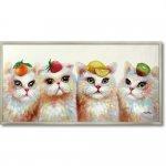 絵画 オイル ペイント アート「トロピカル」 壁掛け 手描き 油絵 カラフル 猫 インテリア おしゃれ 部屋に飾る絵 かわいい ギフト プレゼント ハンドペイント アートフレーム