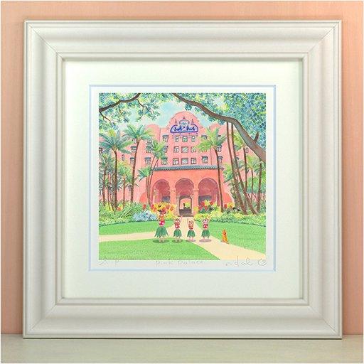 《絵画 水彩画》pink palace〔栗乃木ハルミ くりのきはるみ 〕ピンクパレス