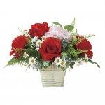アートフラワー フレンチレッド 〔テーブルタイプ〕 インテリア 部屋に飾る 花 おしゃれ ギフト 華やか 御祝 造花 プレゼント リビング 玄関 キッチン フラワー アレンジメント