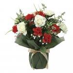 アートフラワー ツインレッド 〔テーブルタイプ〕 インテリア 部屋に飾る 花 おしゃれ ギフト 華やか 御祝 造花 プレゼント リビング 玄関 キッチン フラワー アレンジメント