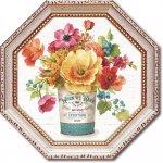 絵画 八角 ミニゲル アートフレーム リサ オーディット「カントリー フレッシュ3」 ゆうパケット  額入り かわいい インテリア 壁飾り 絵 壁掛け 癒やし ギフト リビング 玄関 プレゼント