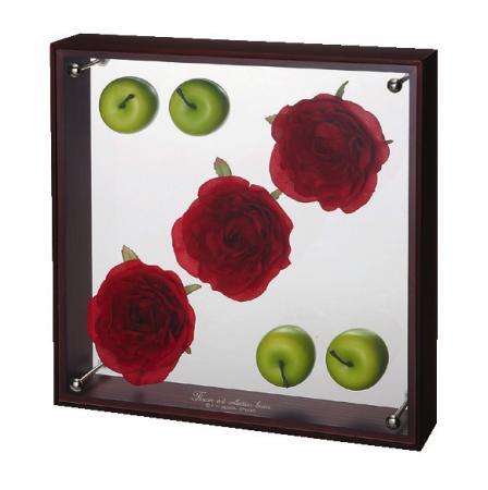 《フラワーフレーム》フラワーアート コレクションボックス Lサイズ・レッドローズ&アップル