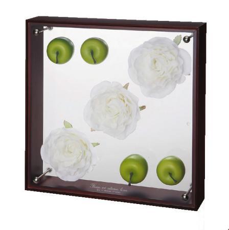 《フラワーフレーム》フラワーアート コレクションボックス Lサイズ・ホワイトローズ&アップル