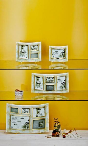 ゴールデンローズ ガラスフォトフレーム 3ウィンドー(ホワイト)