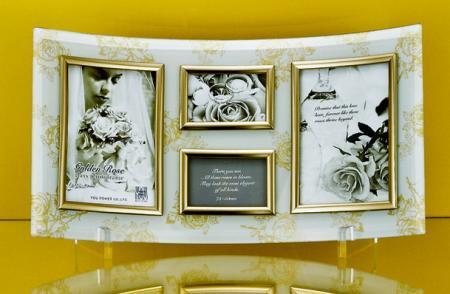 ゴールデンローズ ガラスフォトフレーム 4ウィンドー(ホワイト)