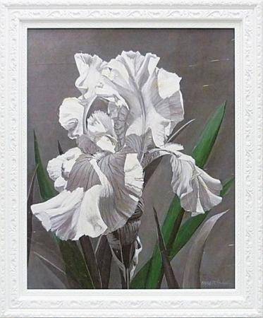 《絵画》ホーンバックル ホワイトアイリス