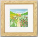《水彩画》くりのき はるみ 版画(ジグレー) 花咲く小道