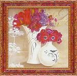 ミニ ゲル アートフレーム キャサリン ホワイト 「花盛り1」(ゆうパケット)