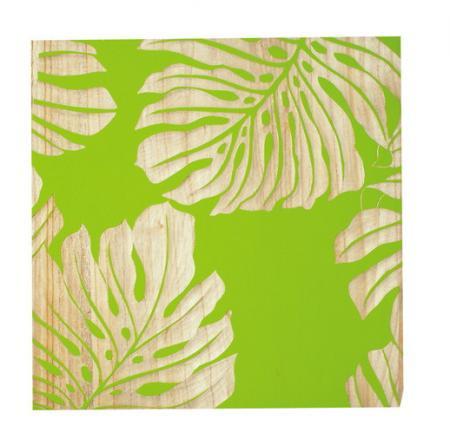 ウッド スカルプチャー アート Sサイズ/モンステラリーブスA/グリーン
