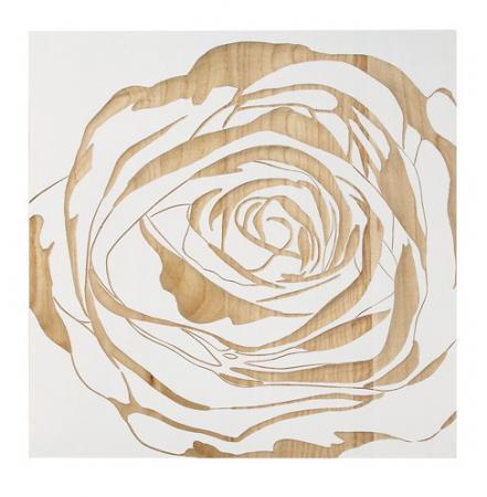ウッド スカルプチャー アート Sサイズ/ローズ/ホワイト