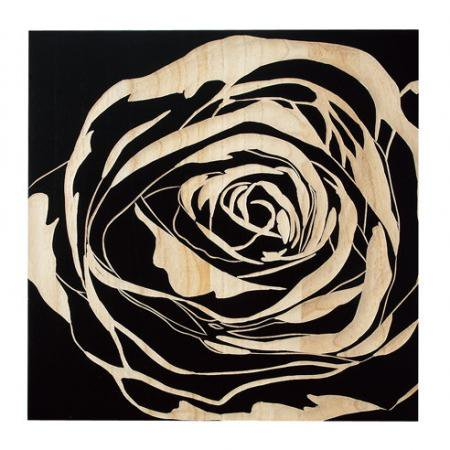 ウッド スカルプチャー アート Sサイズ/ローズ/ブラック