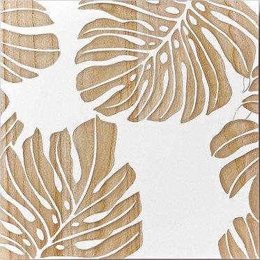 ウッド スカルプチャー アート Sサイズ/モンステラリーブスA/ホワイト