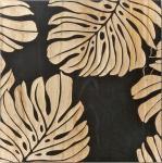 ウッド スカルプチャー アート Sサイズ/モンステラリーブスA/ブラック