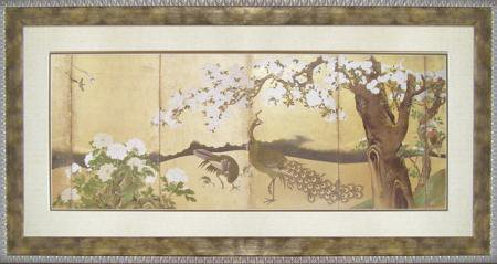 和風フレーム 狩野永徳「桜と孔雀」