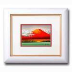 《手描き油絵》小野あきら油絵額(小) 「赤富士」