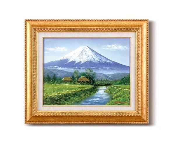 《手描き油絵》田所 洋油絵額F6金 「富士・忍野」