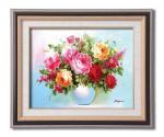 《手描き油絵》矢野ミエ油絵額F6 「幸せの花」