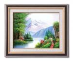 《手描き油絵》メイヤー油絵額F6 「崇高な山々」