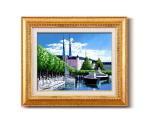《手描き油絵》広瀬 和之油絵額F6金 「ルツェルン」