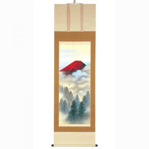 《手描き掛け軸》田中芳園 掛軸 「赤富士山水」