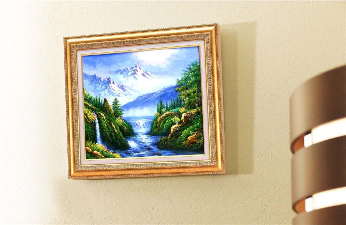 《手描き油絵》グリーン油絵額F10 「大自然の恵」