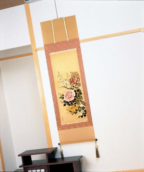 《手描き掛け軸》宮内白嶺 掛軸 「四季草花」