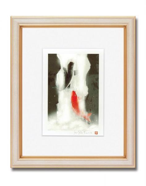 《版画》吉岡浩太郎『開運』風水額(インチ) 「夫婦滝昇り鯉」