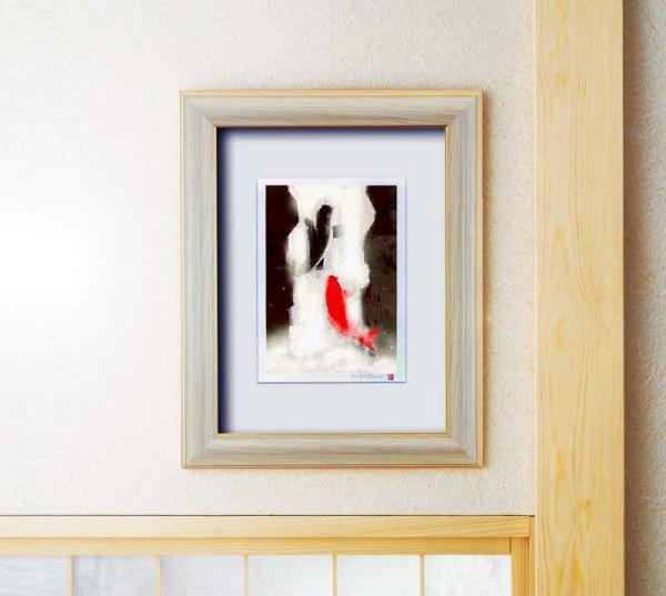 《版画》吉岡浩太郎『開運』風水額(太子) 「夫婦滝昇り鯉」