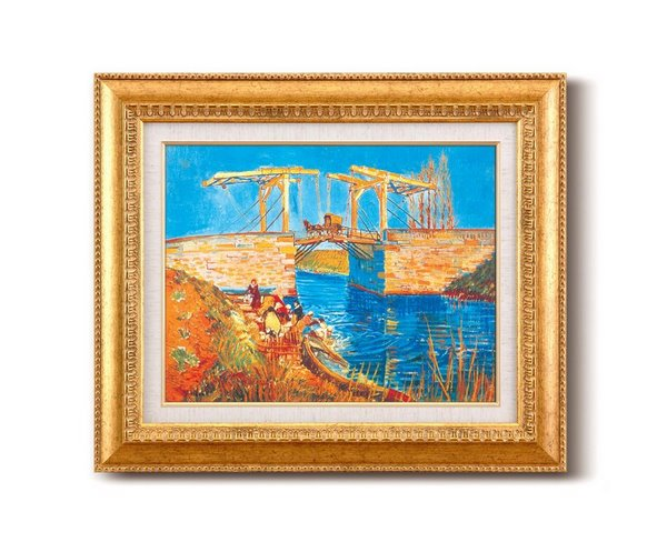 《名画》ゴッホ名画額F6金 「アルルのはね橋」