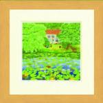 《水彩画》Harumi Kurinoki-S ヒツジグサの池〔栗乃木ハルミ くりのきはるみ〕