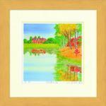 《水彩画》Harumi Kurinoki-S 湖畔の宿III〔栗乃木ハルミ くりのきはるみ〕