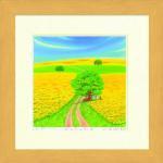 《水彩画》Harumi Kurinoki-S 菜の花の丘III〔栗乃木ハルミ くりのきはるみ〕