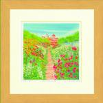 《水彩画》Harumi Kurinoki-S 花咲く小道〔栗乃木ハルミ くりのきはるみ〕