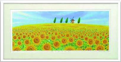 《水彩画》Harumi Kurinoki-XL ひまわりの丘〔栗乃木ハルミ くりのきはるみ〕