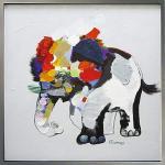 《手描き油絵》オイル ペイント アート フラワー エレファント