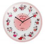 《時計》リトルピンク&ブロキガ ガラスウォールクロック ピンク